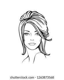 Vector Illustration of a young woman face with with long formal updo hairstyle. Vector Illustration. Woman face sketch