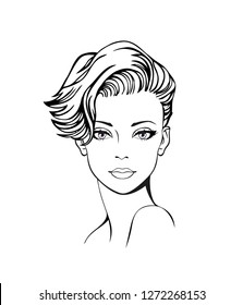 Vector Illustration of a young woman face with modern, short haircut. Woman hairstyle icon. Woman face sketch