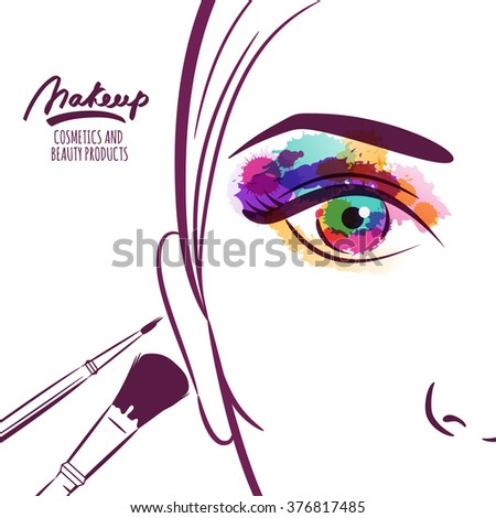 Illustration Visage vector illustration young woman face colorful stock vector (royalty
