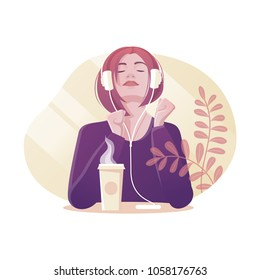 Vector illustration of young woman with headphones who drinks coffee and listens the music. Modern flat style.