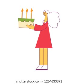 Vector illustration of young woman holding festive cake with burning candles in flat style - cute female character celebrating birthday at party isolated on white background.