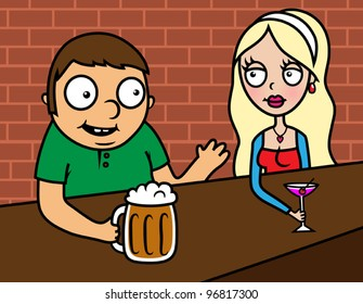 Vector illustration of young woman and man sitting in a bar, drinking, talking, flirting