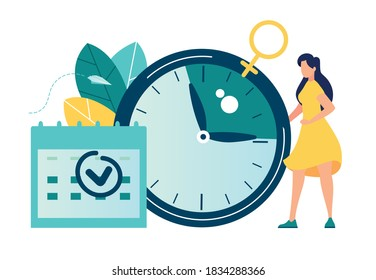 Vector illustration, Young woman marks the date of her period in the online calendar. App for tracking menstrual cycle and ovulation, delayed menstruation