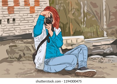 Vector illustration of young woman photographer taking photos using her digital camera