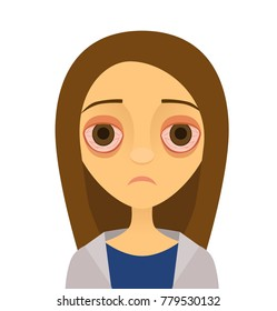 Vector illustration of a young woman with pink eye (conjunctivitis)