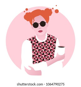 Vector illustration of young woman in retro clothes holding paper cup in the hand and drinking coffee. Modern fashion flat style.
