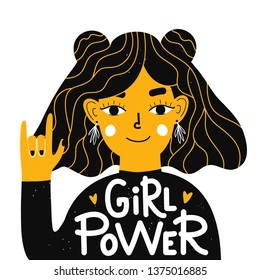 Vector illustration with young woman showing hand rock sign and lettering text - girl power. Colored typography poster with feminism slogan