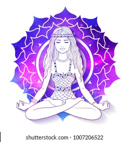 Vector illustration of young woman sitting in pose of lotus and meditating on Sahasrara chakra background with outer space and nebula inside.