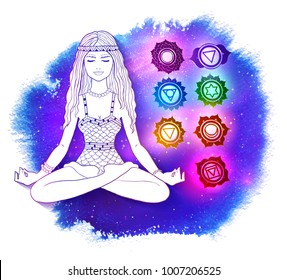 Vector illustration of young woman sitting in pose of lotus and meditating on ultraviolet outer space background with glowing chakras.