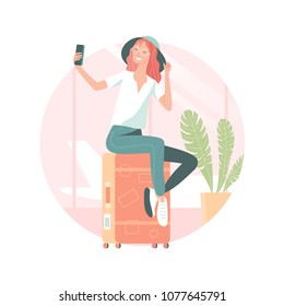 Vector illustration of young woman sitting on suitcase and taking selfie at the airport before flight. Traveling concept, pop art flat style.