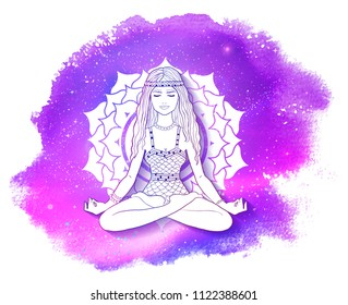 Vector illustration of young woman sitting in pose of lotus and meditating on Sahasrara chakra background with watercolor stain with smudges and outer space inside.