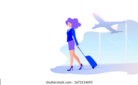 Vector illustration of a young woman walking with a suitcase at the airport, girl stewardess hurries to the plane
