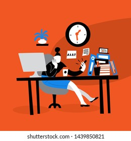 Vector illustration of young women sitting on her workplace and watching phone. Procrastination. Flat cartoon style. Red background