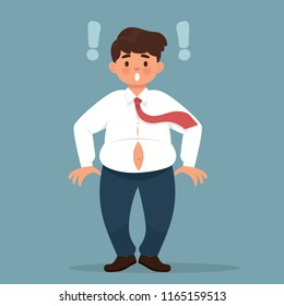 vector illustration of young worker getting fat and his clothes becomes too tight, man worker surprised and he has big tummy