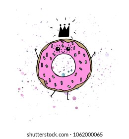 Vector illustration. Yummy print. Princess doughnut. Cartoon drawing. Funny print design elements.
