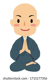 "Vector illustration of zazen sitting Japanese Buddhist monk in ""Samue"", work clothes. Buddha. Spiritual. Buddhism."