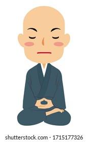 "Vector illustration of zazen sitting and meditating  Japanese Buddhist monk in ""Samue"", work clothes. Buddha. Spiritual. Buddhism."