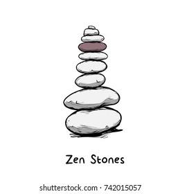 Vector illustration - Zen stone balance, peaceful concept