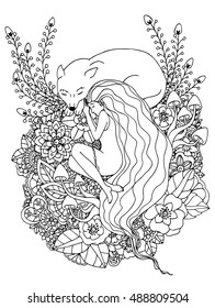 0eb60ffa5d0 Vector illustration Zen Tangle girl and the wolf sleeping in the flowers.  Doodle drawing.