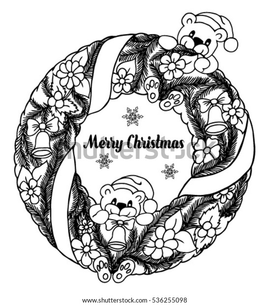 Drawings Of Christmas Wreaths.Vector Illustration Zentagl Christmas Wreath Flowers Stock