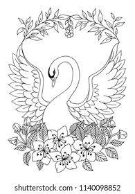 Vector illustration zentangl. Beautiful Swan spread his wings among the flowers. Coloring book. Antistress for adults and children. The work was done in manual mode. Black and white.
