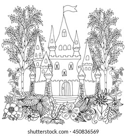 Vector illustration zentangl castle in the woods with a vineyard. Coloring Book, anti-stress for adults. Black and white