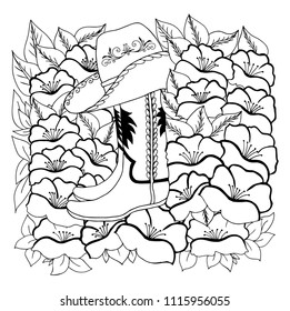 Vector illustration zentangl. A cowboy hat and boots among poppies. Coloring book. Antistress for adults and children. The work was done in manual mode. Black and white.