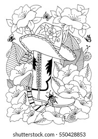 Vector illustration zentangl cowboy hat and of boots among the flowers. Doodle drawing. Meditative exercises. Coloring book anti stress for adults. Black and white.