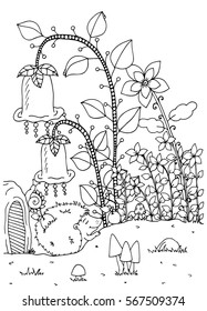 Vector illustration zentangl. Doodle hedgehog and house. Coloring page Anti stress for adults. Black and white.