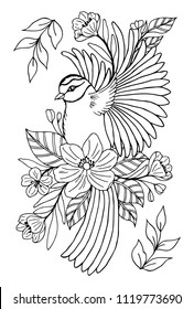 Vector illustration zentangl. A flying forest bird surrounded by flowers. Coloring book. Antistress for adults and children. The work was done in manual mode. Black and white.