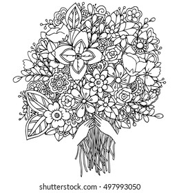 Tattoo Floral Pattern For Coloring Book Background Vector Illustration Zentangl A Girl And Bouquet Of Flowers Doodle Drawing Meditative