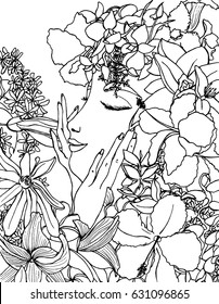 Vector illustration zentangl girl with flowers in her hair. Doodle drawing. Coloring book anti stress for adults.