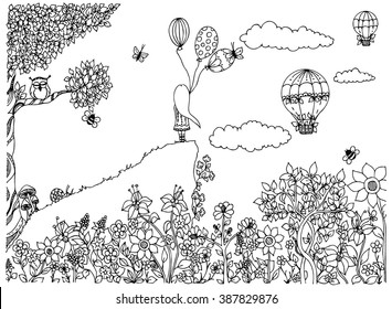 Vector illustration zentangl girl on the mountain with balloons. Garden, doodle flowers, clouds, tree, owl, zenart, dudling. Coloring anti stress for adults. Black and white.