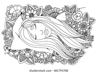 Vector illustration zentangl girl sleeping on a pillow in the flowers. Doodle drawing. Meditative exercise. Coloring book anti stress for adults. Brown and white.