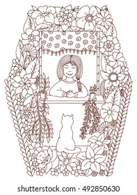 Vector illustration zentangl, the girl at the window watching the cat in the flowers. Dudling risunok.Meditativnye exercise. Coloring book anti stress for adults. Brown and white.