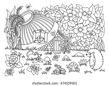 Vector Illustration Zentangl The Hedgehog Goes To Ducks House Coloring Book Anti
