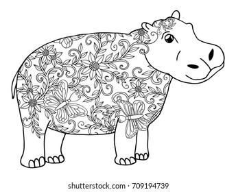Vector illustration zentangl. Hippopotamus decorated with floral ornament. Coloring book. Anti-stress for adults and children. The work is done in manual mode. Black and white.