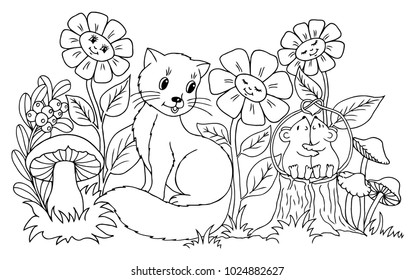 Vector Illustration Zentangl The Kitten Watches Enamored Mice Among Flowers Coloring Book