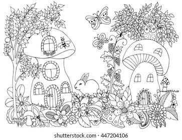 Vector illustration zentangl mushroom houses with a hare and birds in the colors. Coloring book anti-stress for adults. Black and white.
