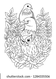 Vector illustration zentangl. Owl, eagle, dove among the flowers. Coloring book. Antistress for adults and children. Work done in manual mode. Black and white.