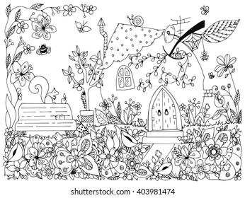 Garden Coloring Pages Images Stock Photos Vectors