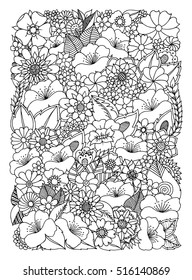 Vector illustration zentangl, a picture from flowers. Coloring Book, anti-stress for adults. Black and white.