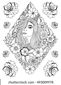 Vector illustration zentangl, portrait of a woman surrounded by flowers in a rhombic style. Dudling risunok.Meditativnye exercise. Coloring book anti stress for adults. Black and white.