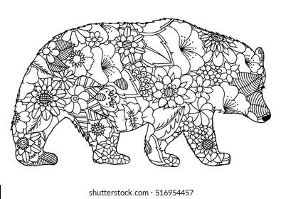 Vector illustration zentangl, silhouette of bear from flowers. Coloring Book, anti-stress for adults. Black and white.