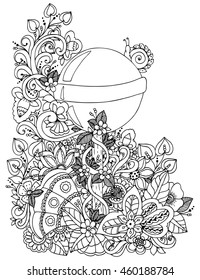 Vector Illustration Zentangle A Lollipop In The Floral Frame Doodle Drawing Coloring Book