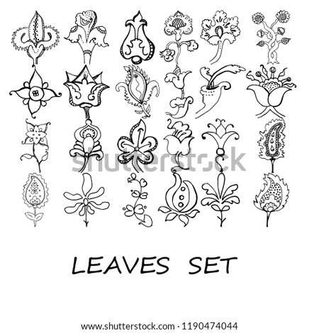 Vector Illustration Zentangle Set Plants Coloring Stock Vector
