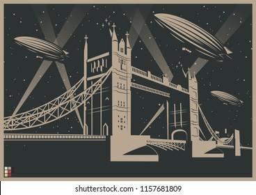 Vector Illustration Zeppelins and Tower Bridge