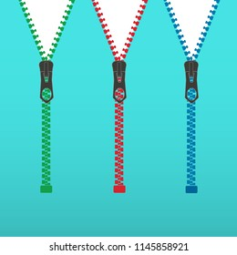 Vector illustration. Zippered lock and unlock. Zipper buttoned. Closed and open zipper.
