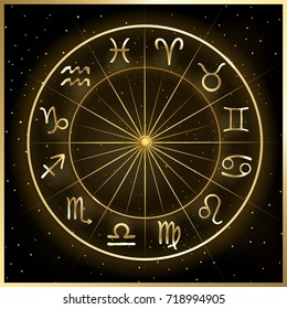 Vector illustration of zodiac circle on cosmic background with stars. Hand drawn astrology horoscope signs.