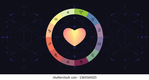 vector illustration of zodiac circle with signs and heart for love horoscope and finding partner concept